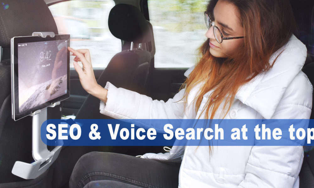 girl on ipad SEO and Voice Search at the top!